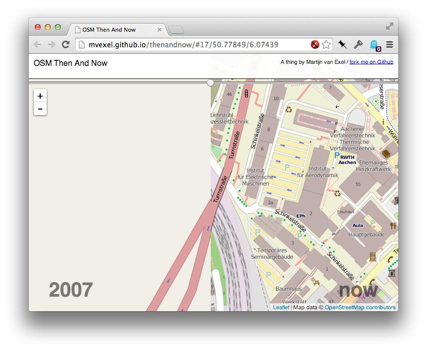 Screenshot from OSM then and now in Aachen